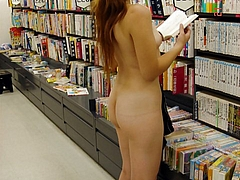 Sexy Woman Flashes Nude in Public Bookstore