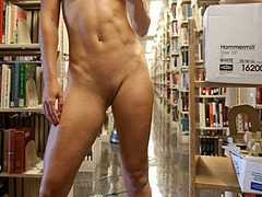 Naked Pussy with Hot Body Posing in Library