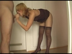 Hot Blonde in High Heels Welcomes Husband with a Blowjob