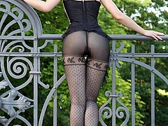 Sexy Woman in Black Stockings Posing Horny Outdoor