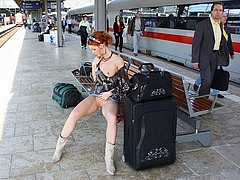 Hot Redhead Woman Flashes Her Pussy in Public Place