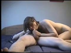 Cute Girlfriend Strokes Dick and Sucks it Good