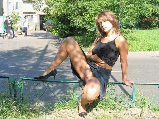 Exhibitionist Wife Flashing Pussy in Public Nudity Photo