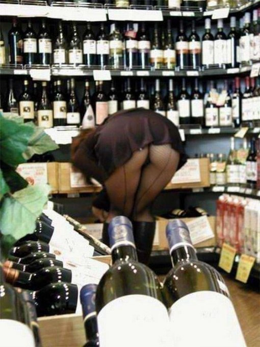 Woman Caught with Underskirt Ass in Supermarket