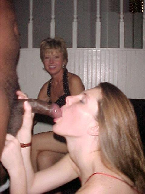 Mom Learns from Daughter How to Suck Black Dick