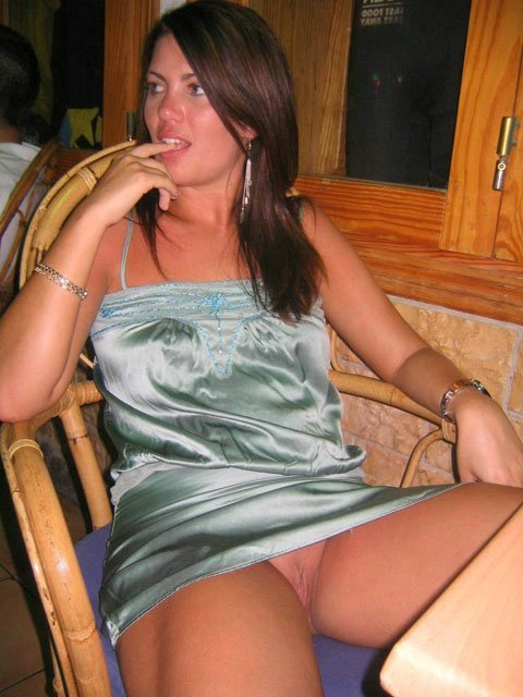 Wife Flashes Shaved Pussy at Table