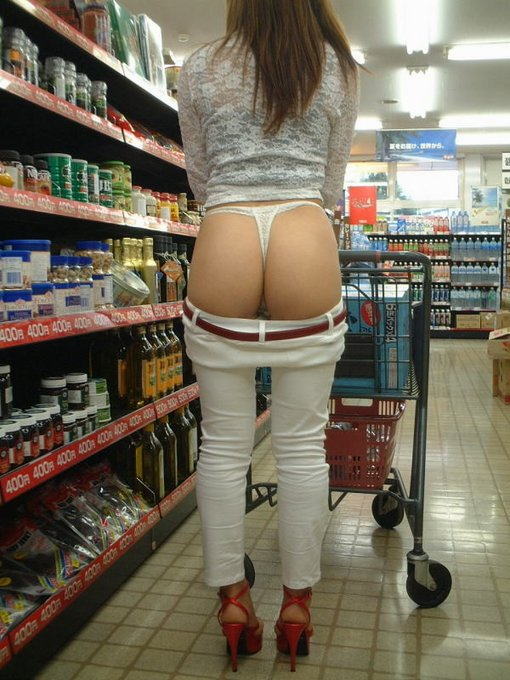 Sexy Thong Flashing in the Supermarket