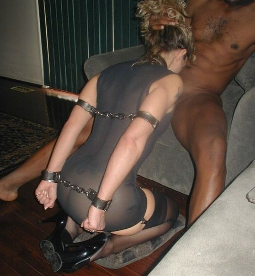 Wife Tied up and Made to Suck Black Dick