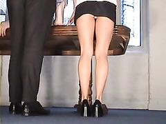 Sexy Secretary Flashes Panties at the Office