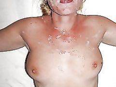 Nude Wife Receives Huge Facial Cumshot