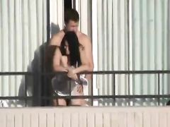 Balcony Fuck with Amateur Nude Couple