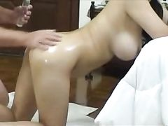 Asian Wife Sex with Husband and Creampie in Her Vagina