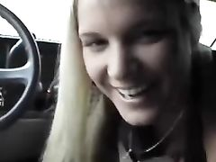 Cute Czech Blonde Girlfriend Does Oral Sex in Car