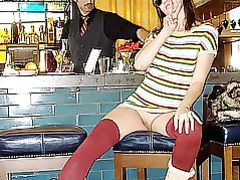 Kinky Mature Wife Flashing Her Pussy at the Bar