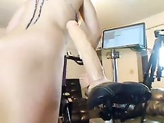 Hot blonde riding big dildo on bike - real home made amateur porn video.