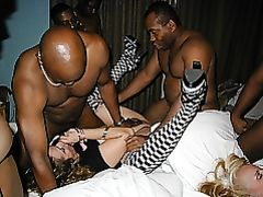 Interracial Threesome Photo Black Men with Woman