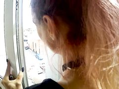 Fucking in the balcony with smoking girlfriend