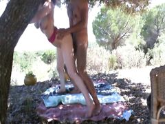 Horny couple fucking outdoor at the picnic